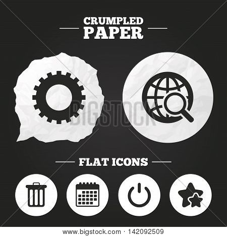 Crumpled paper speech bubble. Globe magnifier glass and cogwheel gear icons. Recycle bin delete and power sign symbols. Paper button. Vector