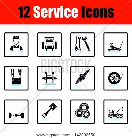 Set Of Twelve Service Station Icons