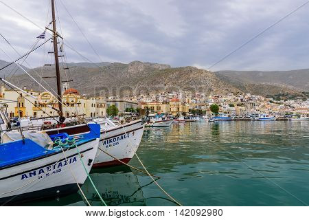 Kalymnos island, Greece - May 14, 2016: A view of a port in Kalymnos island in May 14, 2016, Kalymnos island, Dodecanese, Greece.