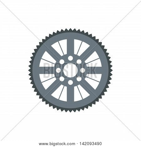 Sprocket for bicycle icon in flat style isolated on white background. Mechanical parts symbol