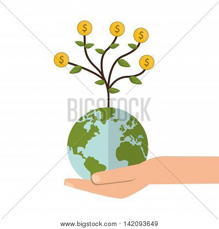 flat design shelter hand with earth globe money tree icon vector illustration
