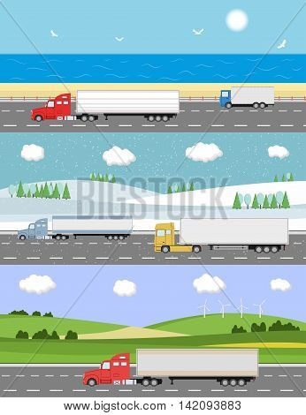 Truck on the road. Heavy truck on landscape background. Logistic and delivery concept. Vector illustration.