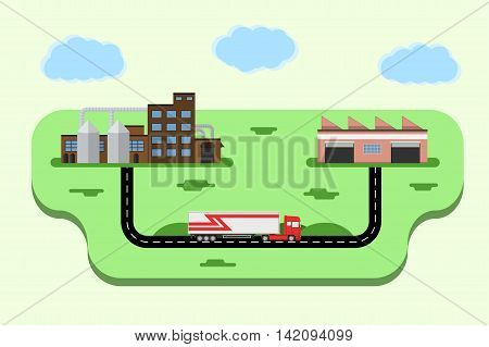 Concept of goods delivery. Logistics metaphor. Truck delivering goods from factory to warehouse. Vector illustration.