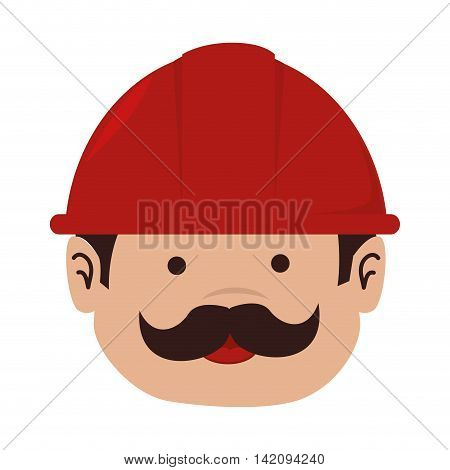 man mechanic helmet service mustache happy overall repair vector graphic isolated and flat illustration