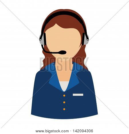 woman support headset person call operator reception assistant  communication service vector graphic isolated and flat illustration