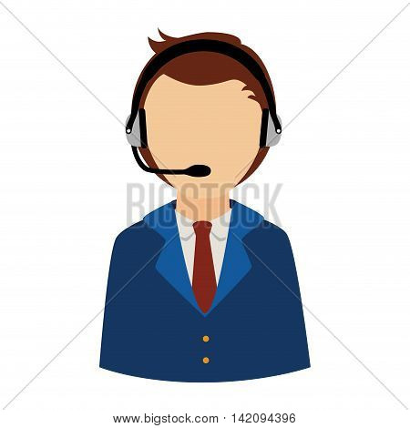 headset person call operator reception assistant support communication service vector graphic isolated and flat illustration