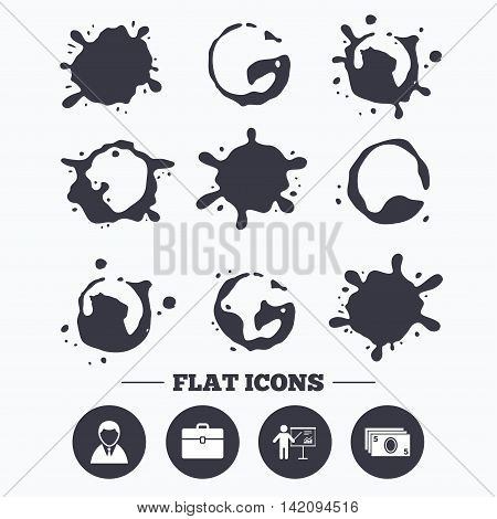 Paint, coffee or milk splash blots. Businessman icons. Human silhouette and cash money signs. Case and presentation with chart symbols. Smudges splashes drops. Vector