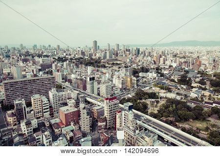 Osaka Tennouji city in Japan landscape panorama