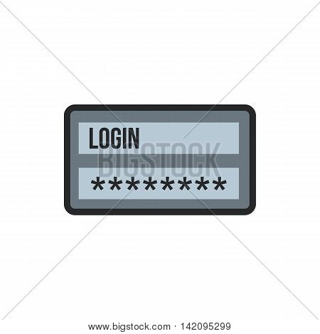 Username and password icon in flat style isolated on white background. Authorization symbol