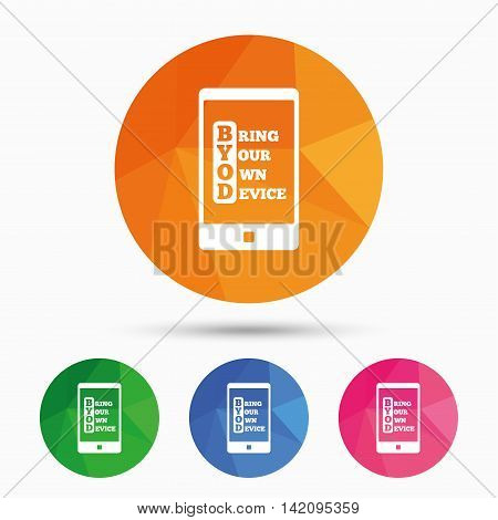BYOD sign icon. Bring your own device symbol. Smartphone icon. Triangular low poly button with flat icon. Vector