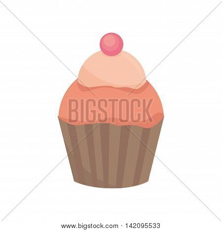 cupcake muffin strawberry dessert bakery cream cherry food sugar vector graphic isolated and flat illustration