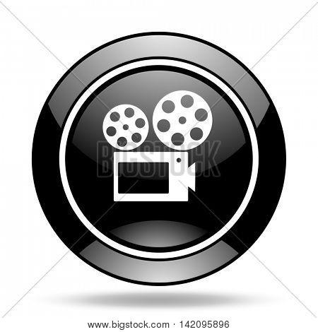 movie black glossy icon