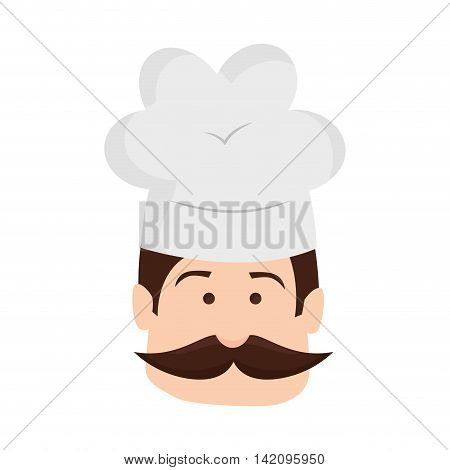 chef hat bakery kitchen man mustache cook male head vector graphic isolated and flat illustration