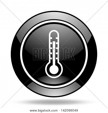 thermometer black glossy icon