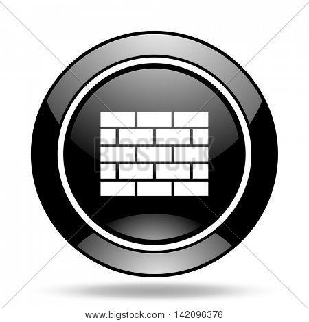 firewall black glossy icon