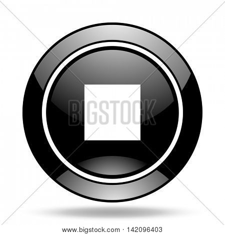 stop black glossy icon