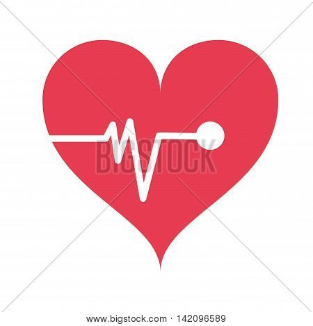 flat design heart cardiogram icon vector illustration