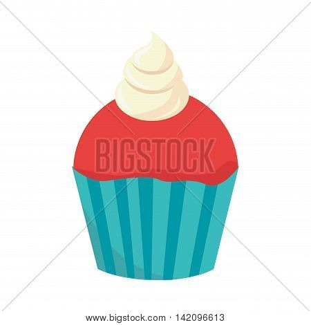 cupcake muffin dessert bakery cream cherry food sugar vector graphic isolated and flat illustration