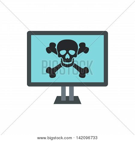 Virus on computer icon in flat style isolated on white background. Infection symbol