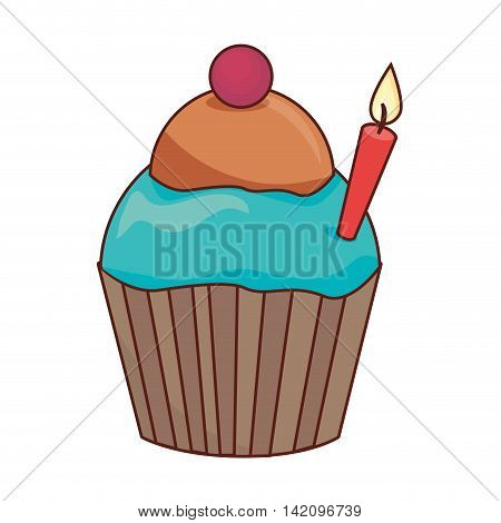 cupcake candle birthday muffin dessert bakery cream cherry food sugar vector graphic isolated and flat illustration