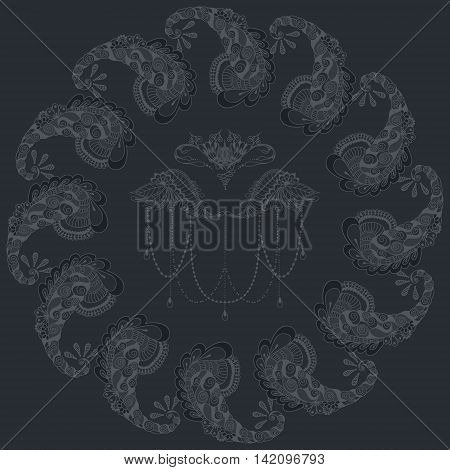 Card with floral ornaments arranged in a circle. Floral pattern for the greeting cards invitation template frame design for business style cards or else. Vector illustration