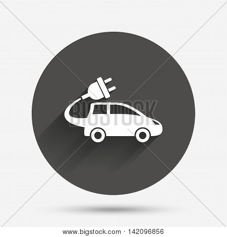 Electric car sign icon. Hatchback symbol. Electric vehicle transport. Circle flat button with shadow. Vector