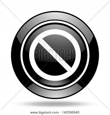 access denied black glossy icon