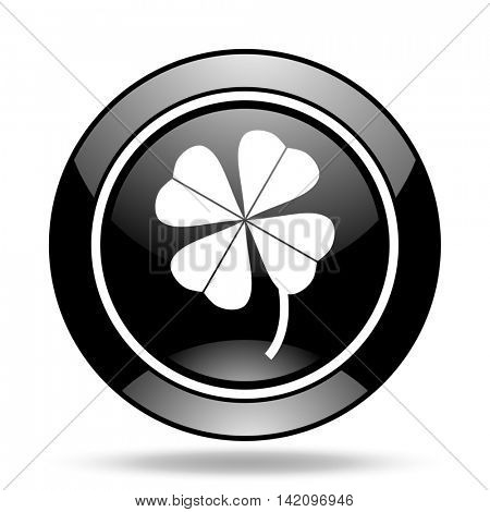 four-leaf clover black glossy icon
