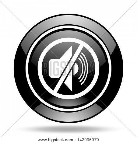mute black glossy icon
