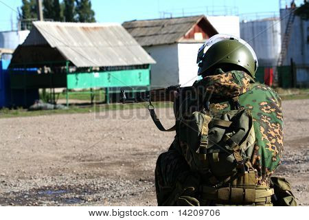 military man in an ambush up