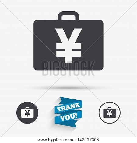 Case with Yen JPY sign icon. Briefcase button. Flat icons. Buttons with icons. Thank you ribbon. Vector