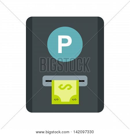 Parking fees icon in flat style isolated on white background. Payment symbol