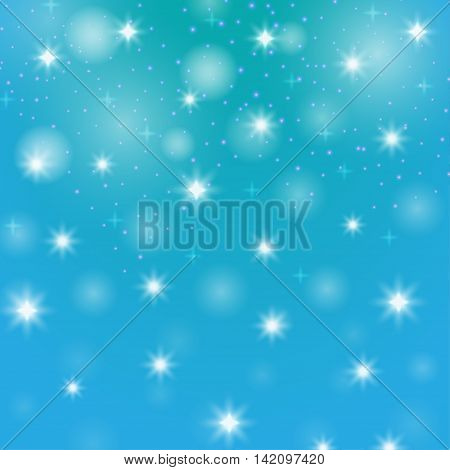 Abstract background star. Decorative design with snow. Bright element bokeh. Christmas illustration. New Year image. Festive creative object. Simple graphic image.Vector.