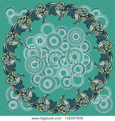 Floral ornaments arranged in a circle. Floral round pattern for the greeting cards invitation template frame design for business style cards or else. Vector illustration