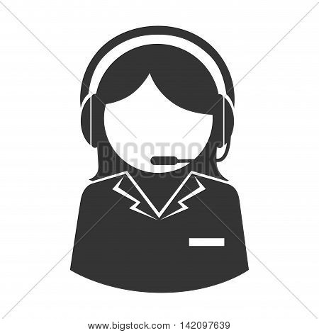 women headset person call operator reception assistant support communication service vector graphic isolated and flat illustration