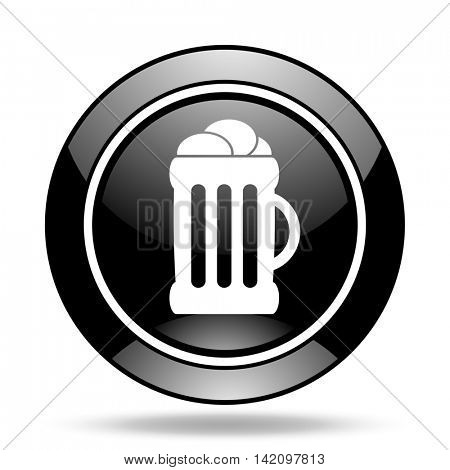 beer black glossy icon