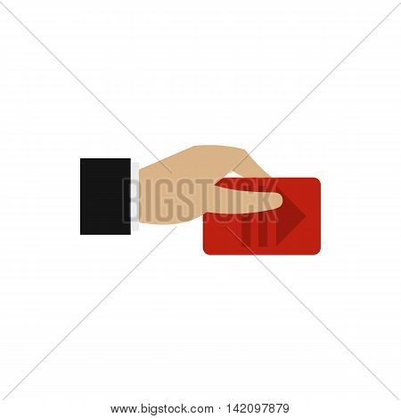 Hand pays for parking icon in flat style isolated on white background. Payment symbol