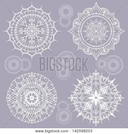 Card with circular floral ornaments. Round Pattern Mandala. Floral round pattern for the greeting cards invitation template frame design for business style cards or else. Vector illustration