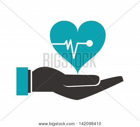 flat design shelter hand health icon vector illustration