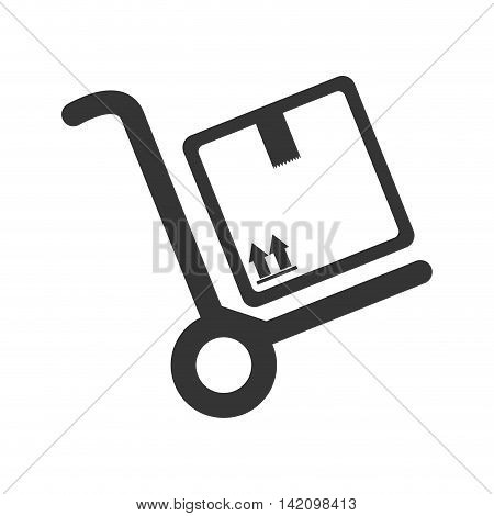handtruck box delivery transportation wheel top arrow pack cargo vector graphic isolated and flat illustration