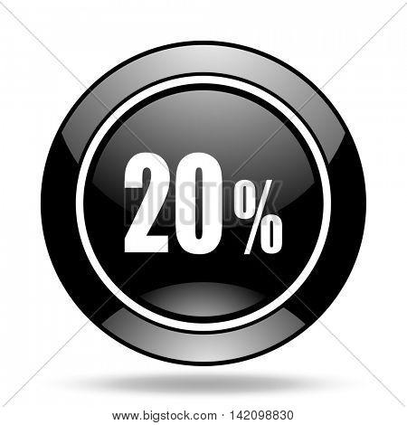 20 percent black glossy icon