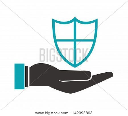 flat design shelter hand with shield icon vector illustration
