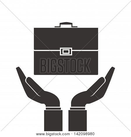 flat design shelter hand with briefcase icon vector illustration