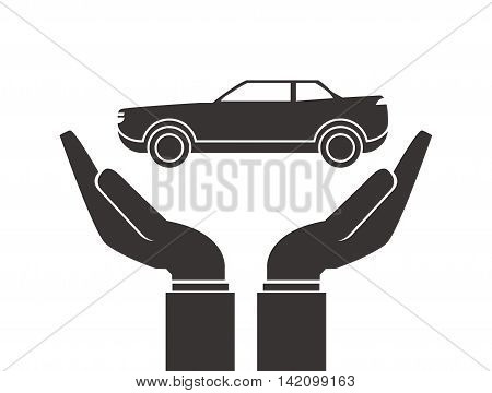 flat design shelter hand with car icon vector illustration