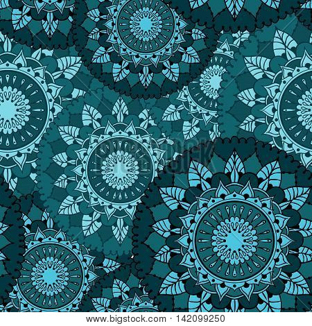 Seamless pattern with circular floral ornament. Round Pattern Mandala. Pattern for the greeting cards invitation template frame design business style cards or else. Vector illustration