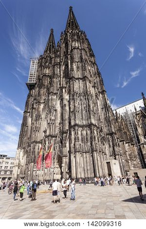 COLOGNE GERMANY - AUG 7 2016: The famous historic Cologne cathedral in the city of Cologne. North Rhine-Westphalia Germany