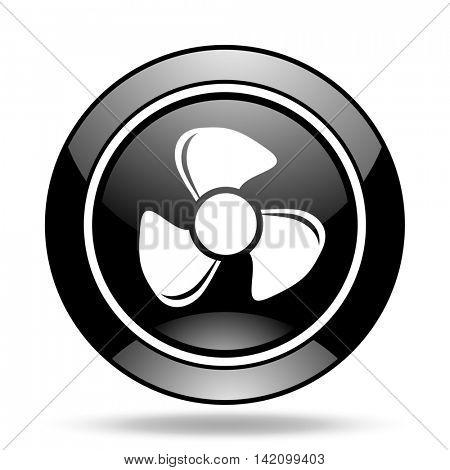 fan black glossy icon