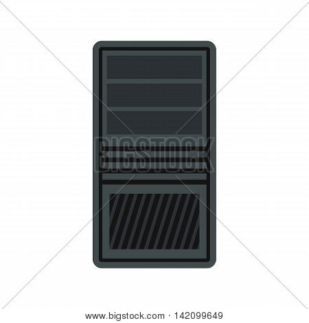 System unit of computer icon in flat style isolated on white background. Case symbol