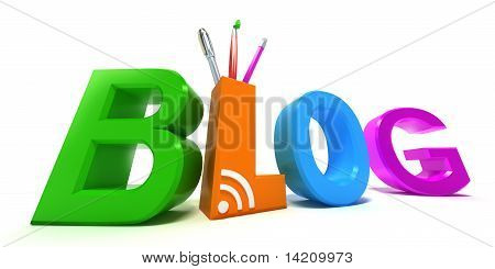 Colourful blog. 3D concept on white background