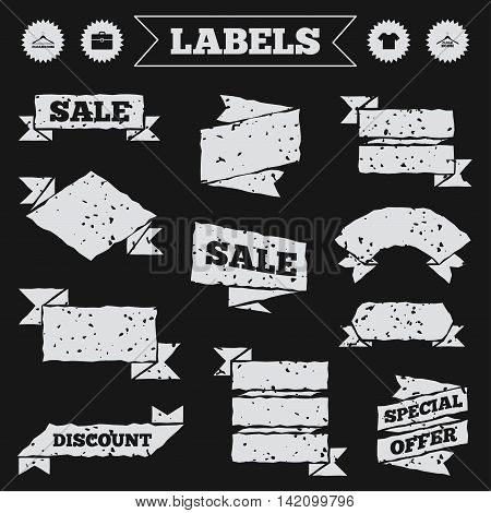 Stickers, tags and banners with grunge. Cloakroom icons. Hanger wardrobe signs. T-shirt clothes and baggage symbols. Sale or discount labels. Vector